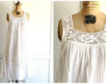 vintage white cotton dress with crochet   white cotton nightgown