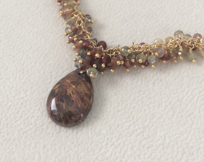 Rare OOAK Peterasite and Tunduru Sapphire Necklace in Gold Vermeil