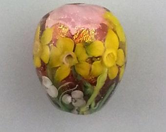 Handmade Lampwork Daffodil Murrini Floral Focal Bead -- SRA