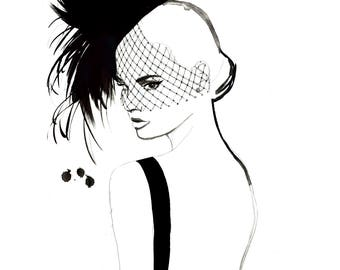 Noir Girl, print from original watercolor and mixed fashion illustration by Jessica Durrant