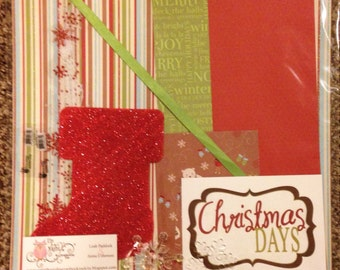 Christmas Stocking Snowflake Paper Embellishment Kit 2 Pages 12x12 premade