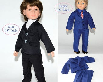 """Formal Suit PDF pattern Multi-sized for 18"""" Slim Carpatina Boy Dolls and for the larger 18"""" American Girl Boy Logan"""