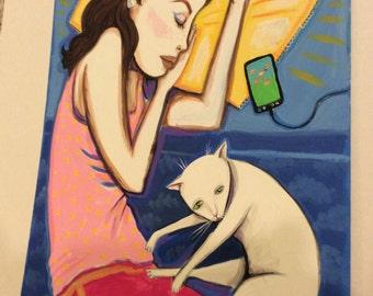 Original Painting Girl Sleeping with Cat Artwork on Matte Board