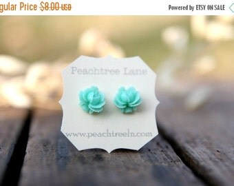 CYBER MONDAY SALE Mint Seafoam Green Rose Flower Earrings // Bridesmaid Gifts // Rustic Vintage Wedding // Bridal Shower Gifts