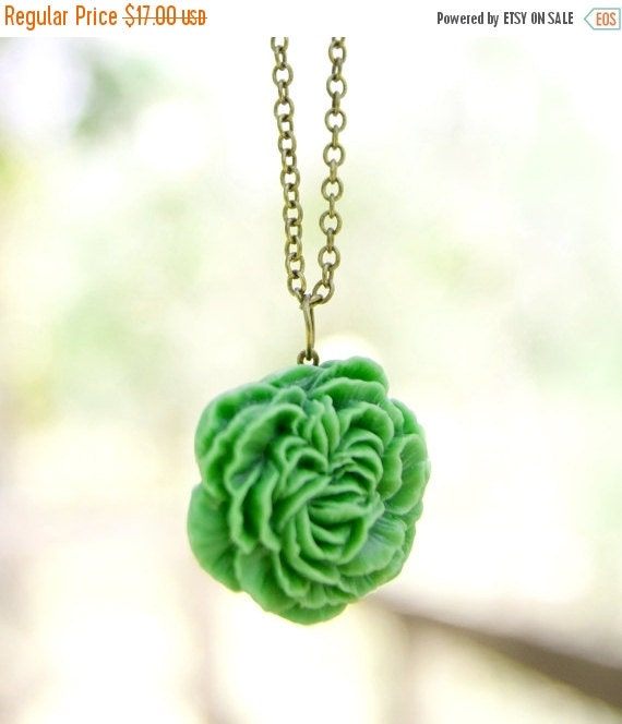 CHRISTMAS SALE Apple Green Peony Flower Necklace // Bridesmaid Gifts // Bridesmaid Necklace // Rustic Wedding