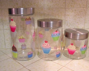 Cupcake Decorated 3 Size Glass Canister Set