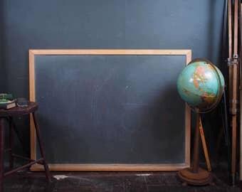 4ft Vintage Slate School Chalkboard w/ Wood Frame and Chalk Shelf
