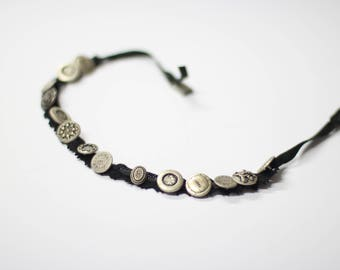 Steampank collar choker necklace in black lace , uniquie handmade jewelry