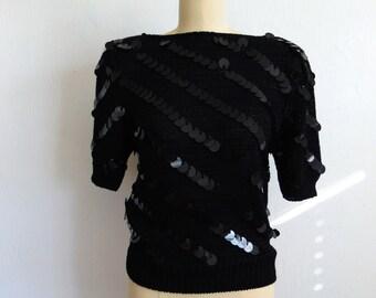 80s black PAILETTES sequins sweater top size small
