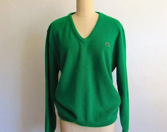 80s Mens IZOD LACOSTE kelly green sweater size large