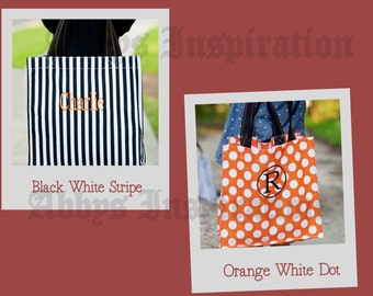 Personalized 15in Tote Bag Monogrammed Dots or Stripes Shopping Bag