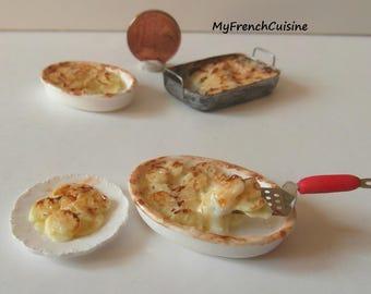 French gratin dauphinois and plate - Handmade miniature food