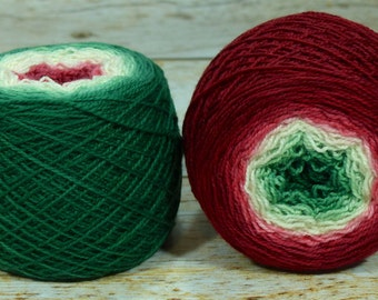 "Full "" Holly King "" -Lleap Handpainted Gradient Sock Yarn"