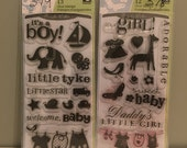 SUPPLY DESTASH - Inkadinkado - Brenda Walton - Baby Girl and Baby Boy Acrylic Stamp Sets