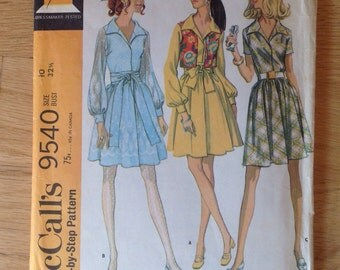 Vintage McCall's 9540 Misses Dress with full skirt and Vest -size 10