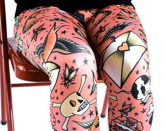 Old School Tattoos Capris Leggings - vintage tattoo flash - mid-calf length - printed leggings - rose, gray or white