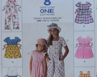 McCalls 8748/Sewing Pattern/Girls/Toddlers Dresses, Jumpsuit and Rompers/Size 2-3-4/1997