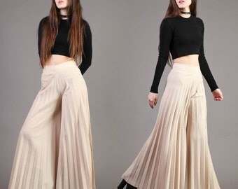 vintage BELL BOTTOM accordion pleated high waist palazzo wide leg flare pants 1970s 70s extra small XS