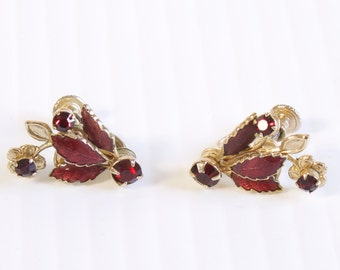 Vintage 1960s  Ruby Red Enamel Leaf Rhinestone Screw back Earrings