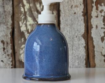 Ceramic Soap Dispenser / Soap Dispenser with Pump / Blue Soap Dispenser / Ready to Ship