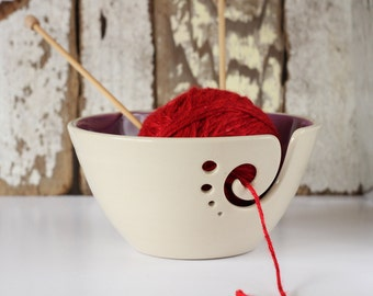 Purple Ceramic Yarn Bowl, Yarn Bowl, Knitting Bowl, Crochet Bowl, Purple and White Yarn Bowl, Made to Order