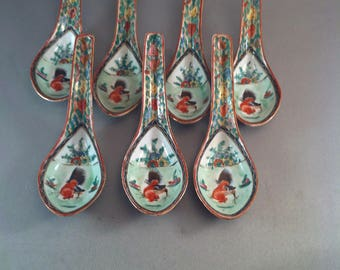 Vintage Set of 7 Chinese Rooster Soup Spoons, Year of the Rooster,20thc. Asian Spoons, Rose Medallion, Hand Painted Asian Spoons, *USA ONLY*