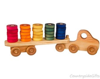 Wooden Toy Stacker Truck - toy stacker truck, wooden stack truck