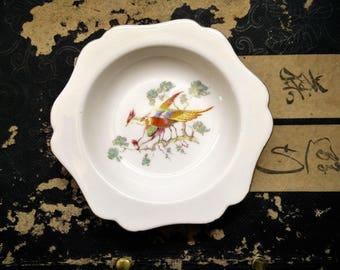 Vintage Royal Crown Derby Pin Dish.  Bird/Pheasant design. Decorative pin dish. Trinket Dish. Gilded Gold. Bone China. Made in England
