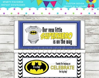 Superhero Batman Baby Shower DIY Printable Candy Wrapper Instant Download