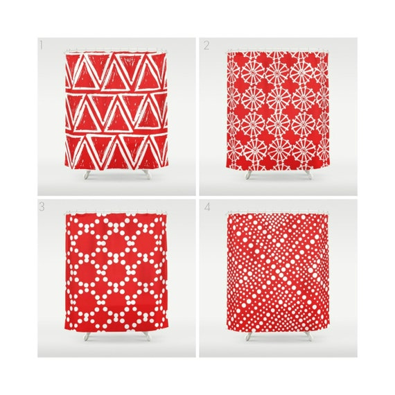 Red Shower Curtain - Geometric Shower Curtain - Modern Shower Curtain - White Shower Curtain - Triangle Shower Curtain - Red and White