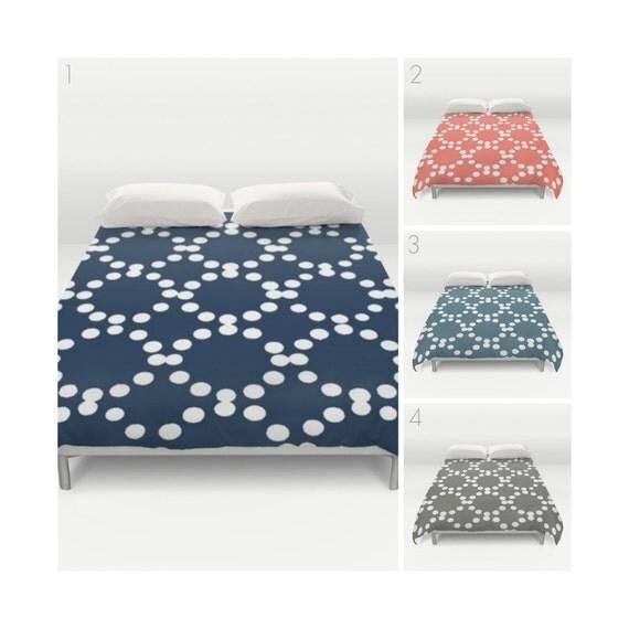 Modern Duvet Cover - Navy duvet cover - Coral duvet - Twin XL duvet - Twin bedding - queen duvet cover - king duvet cover - full duvet cover