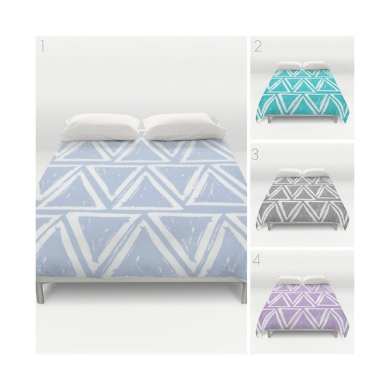 Periwinkle Duvet Cover . Twin XL Duvet - Gray duvet cover . Twin XL bedding . queen duvet cover . king duvet cover . triangle bedding set