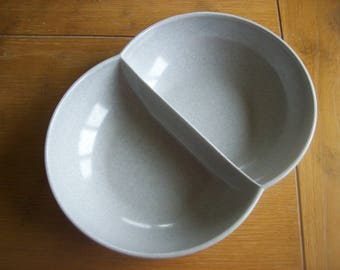 Mid Century Melmac Color Flyte Divided Gray Serving Bowl by Branchell