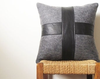 Black Leather Pillow Charcoal Wool ... Luxe Sofa Cushion with Leather Cross
