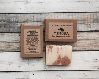 Mimosa Handcrafted Ole Fashioned Lye Soap Sandalwood and Rose 4.5oz Bar