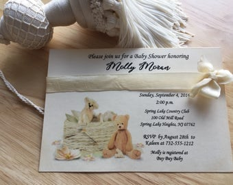 Baby Shower Invitation, Teddy Bears Neutral Baby Shower Baby Boy Baby Girl Vintage Style, Teddy Bear Baby Shower Invitation