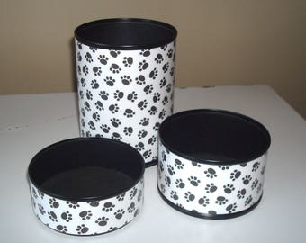Paw Prints Desk Accessories in Black and White - Paw Print Pencil Holder - Animal Print Desk Organization - Office Desk Decor - 967