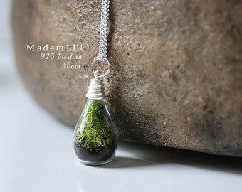 925 Sterling Silver True Moss + Ground Necklace