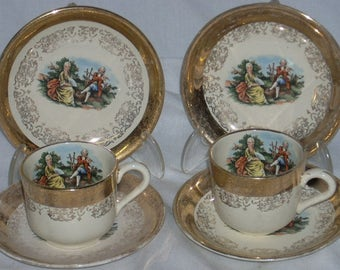 Vintage Sabin China Crest O Gold Demitasse Cups and Saucers Romantic Couple