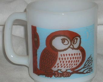 Vintage Glasbake Glass Owl Mug Cup