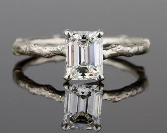 1 ct. Solitaire Emerald Cut White Diamond Twig Engagement Ring
