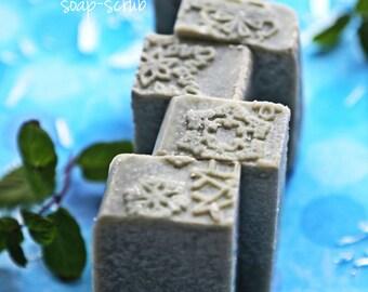 Winter Breath Soap Scrub - with Sea Salt, Menthol, Indigo. Cooling Vegan Soap. Breathin' E-Z soap. Sore muscles soap.