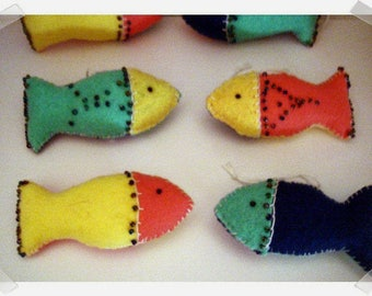 Mini Felt Fish Ornaments/ 6 Choices to pick from*/ Single Or Set of 2 Or Set of 3/ Handmade/Made to Order**