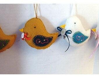 Bird Ornament*/Made of Felt/ Single OR SET of 2/ Handmade/* Made to Order**