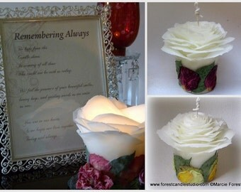 Beeswax Rose Memorial Candle, Wedding Memory Candle, Sympathy Gift, Remembrance Candle, Custom Candle Handmade, Your Choice Petal Color