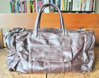 Vintage Amazing Patchwork Leather Duffel Bag Travel Luggage Deep Maroon