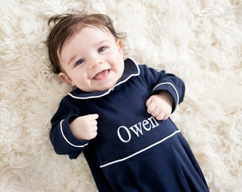 Baby Boy Coming Home Outfit-Navy with White Trim Footed Romper-Pima Cotton Baby-Baby Take Home Outfit-Baby Boy clothes-Owen's Romper