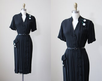 40s Dress - Vintage 1940s Dress - Black Emerald Green Rhinestones Linen Rayon Deco Dress M - Green with Envy Dress