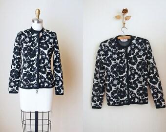 1960s Sweater - Vintage 60s Catalina Cardigan - Black White Floral Midcentury Wool Jacquard Cardigan S - Monochroma Sweater