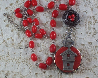 Bird House Red Bird Nest repurposed assemblage necklace by ceeceedesigns on etsy